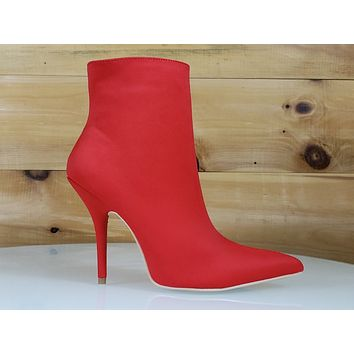 Mac J Mind Blown Bright Red High Heels Satin Pointy Toe Ankle Boot