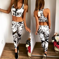 Summer Hot Sale Print Vest Pants Sportswear Set [8773446605]