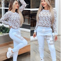 FENDI Women Fashion Letter Pullover Sweater Pants Set Two-Piece-1