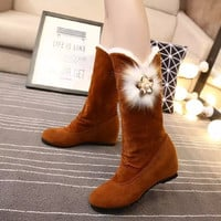 On Sale Hot Deal Flat Korean Height Increase Matte Round-toe Floral Boots [9391075722]