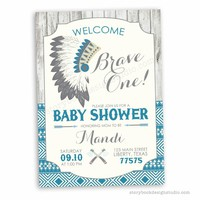 Brave One Tribal Baby Shower Invitations Blue