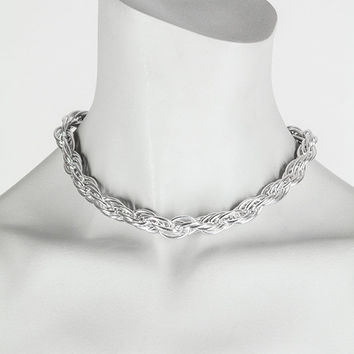Vintage 60s Necklace / 1960s Crown Trifari Silver Tone Spiral Chain Choker