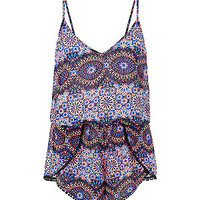 Blue Strappy Ethnic Print Playsuit