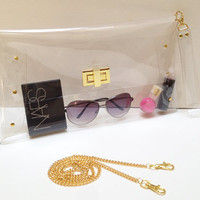 Over Size Transparent Clear Clutch Bag with Chain for Shoulder and Strap Wrist,Transparent Purse,Clear Bag,Clutch,Bag:Gold accessory