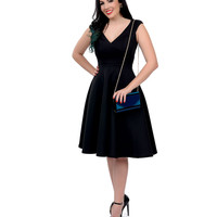 1950s Style Black Cap Sleeve Surplice Scuba Swing Dress