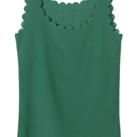Dark Green Chiffon Vest with Scallop Hem