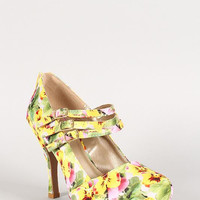 Qupid Floral Mary Jane Almond Toe Platform Pump Color: Yellow Multi, Size: 6.5