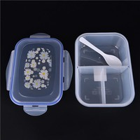 New Transparent Three Compartments Lunch Food Box Snack Container Storage lunchbox 20x14x7cm