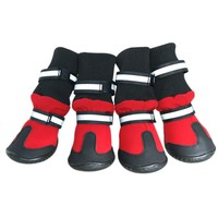 Waterproof four-sided fabric high heel pet dog shoes anti-skid rain boots for medium large dogs red black 4 pcs/set dog shoes