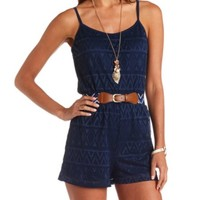 Belted Aztec Lace Romper