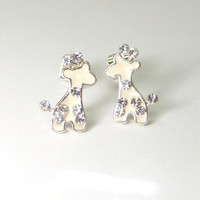 A tiny enamel giraffe earrings, animal earrings, mini earrings