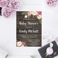 Rustic Baby Shower Invitation, Printable Invitation, Printable Rustic Baby Shower, Barn Wood Baby Shower Invite, Instant Download
