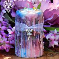 Faerie Muse . Herbal Alchemy Magick Candle 2x3 . Ambrosia . For Faerie Magick, Sight, Nature Spirit Workings