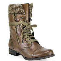 Steve Madden - Jaax - Brown Leather Combat Boot      at Footnotesonline Women's Designer Shoes