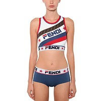 FENDI Vest Tank Top Bra Brief Panty Shorts Underwear Lingerie Set Two-Piece
