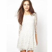 Women  white lace double layer lining long-sleeve autumn and winter one-piece dress