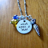 """Pinocchio Inspired Necklace. Jiminy Cricket """"Wish Upon A Star"""". Swarovski crystals, for women or girls. Hand stamped."""