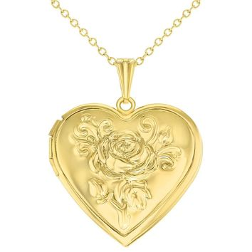Gold Tone Heart Rose Flower Photo Locket Love Pendant Necklace 19""