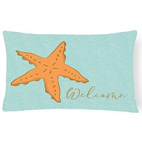 Starfish Welcome Canvas Fabric Decorative Pillow BB8559PW1216
