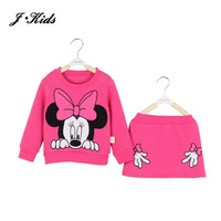 New Retails children girls clothing sets spring autumn minnie mouse long sleeve cotton fleece shirt top +midi skirt 6 colors