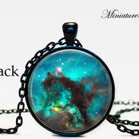 Galaxy Jewelry Nebula Star Cluster Necklace Pendant Galaxy Celestial, Solar System,Red,Blue,White,Space,Celestial,Stars,Solar System,Teal