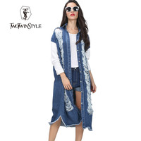 [TWOTWINSTYLE] 2016 Autumn Denim Hollow out Ripped Vintage Long Sleeve Spliced Cotton Jacket Women Coat New