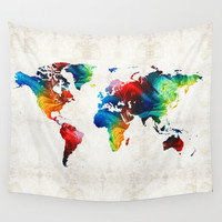 World Map 19 - Colorful Art By Sharon Cumming Wall Tapestry by Sharon Cummings