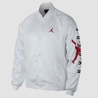 Air Jordan 2019 new men's thin baseball uniform sports jacket white
