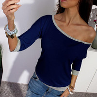 New Spring Summer Sexy Women Long Sleeve Loose Casual Off Shoulder Tees T shirt Tops Multicolor Womens Plus Size T-shirt
