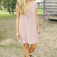 Champagne Toast Taupe V-Neck Chiffon Cap Sleeve Shift Dress