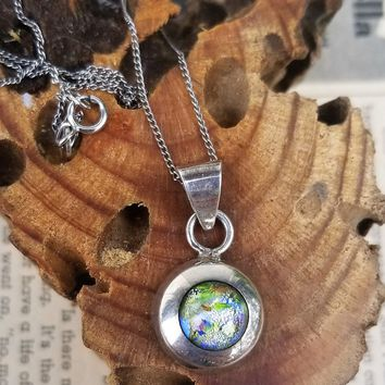 Dichroic blown glass vintage Mexican sterling silver necklace signed TF26