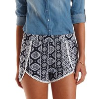 Navy Combo Tribal Print High-Waisted Shorts by Charlotte Russe