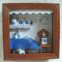 Reutter Porzellan Miniature Shadow Box Blue and White Porcelain Miniature 1:12 Scale Made in Germany
