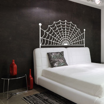 Vinyl Wall Decal Sticker Spiderweb Headboard #OS_AA1164