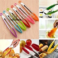 Kitchen Tool Set Silicone Kitchen Cooking Salad Serving BBQ Tongs Stainless Steel Handle Utensil random color
