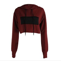 2017 Autumn Women Casual Loose Hoodies Long Sleeve Crop Top O Neck Sexy Sweatshirt Wine Red and Black Patchwork Pullovers