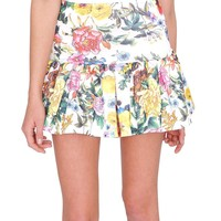 Garden Party Ruffle Mini Skirt - Ivory Floral