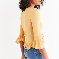 UO Myra Cinch Front Ruffle Top | Urban Outfitters