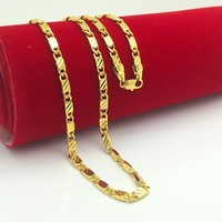 Brand new 24K gold necklaces chain super deal gold chain men jewelry vacuum plated 50 cm new