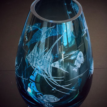 Hand Engraved Coral Fish Vase