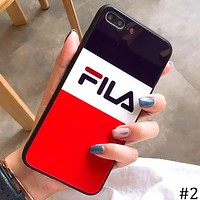 FILA tide brand simple letter iphoneX glass shell soft shell protective cover #2