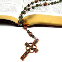 Anglican Prayer Beads - Celtic Cross in Antique Copper-you choose the color