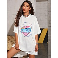 Drop Shoulder Letter & Heart Print Tee Dress