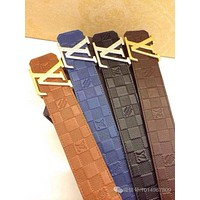 LV Louis Vuitton Brass Belt 85/34Brown Logo Gold