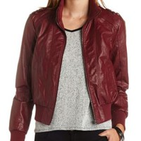 Faux Leather Bomber Jacket by Charlotte Russe - Oxblood