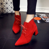 2016 Autumn And Winter Square Heel Pumps Shoes Women High Heel Boots Ankle Length Pointed Toe Lacing Martin Boots