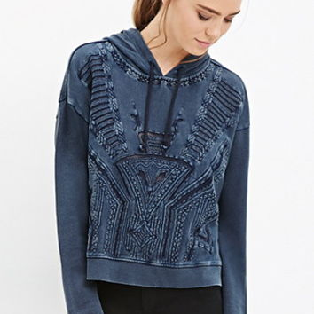 Geo-Embroidered Hoodie