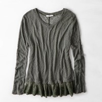 AEO Lace Distressed Sweater , Pink   American Eagle Outfitters
