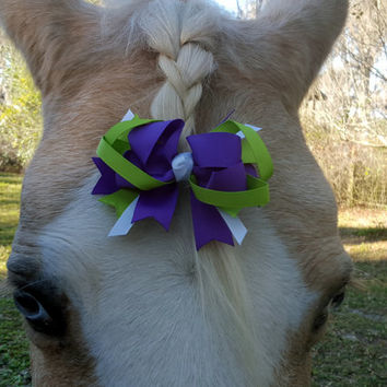 Purple and Green Ribbon Bow for Horse - Equine Easter Forelock, Mane or Tail Bow - Equine Easter Costume