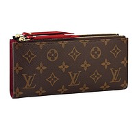 Louis vuitton hot seller of women's printed double zipper wallets with stylish clutch bags Red #4